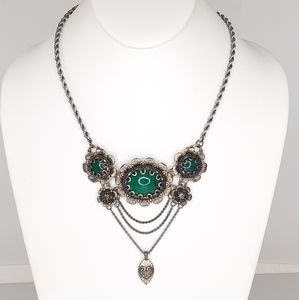 Lucky Brand Necklace Antiqued Metal Emerald Tone